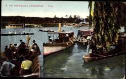 Postcard Tigre Argentinien, Fähren auf dem Fluss, Passagiere, Ruderboote