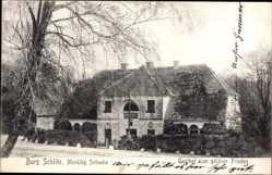 Postcard Burg Schlitz Hohen Demzin, Gasthof zum goldenen Frieden, Vorderansicht