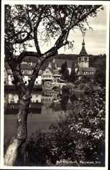 Postcard Bad Liebenzell im Schwarzwald, Partie am See mit Kirche