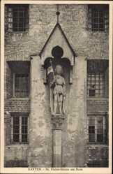 Postcard Xanten, Blick auf die St Victor Statue, Dom, Fahne, Überdachung