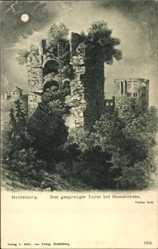Postcard Heidelberg, Nachtaufnahme, Gesprengter Turm, Ruine, Büsche