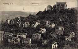 Postcard Marburg Lahn, Stadtpanorama, Nordabhang, Schloss, Häuser, Wald