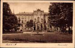 Postcard Rostock Mecklenburg, Blick auf die Universität, Parkanlage