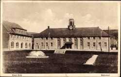 Postcard Bad Orb, Blick auf den Bahnhof, Springbrunnen, Vorplatz, Uhr, Garten