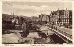 Postcard Alfeld an der Leine, Eingang in die Stadt, Brücke, Wehr
