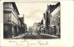 Postcard Hameln in Niedersachsen, Blick in die Bäckerstraße mit Geschäften