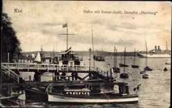 Postcard Kiel in Schleswig Holstein, Hafen mit Kaiser Jacht, Dampfer Hamburg
