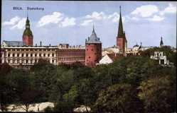 Postcard Riga Lettland, Blick über den Basteiberg, Türme