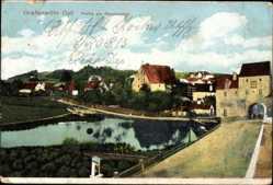 Postcard Grafenwöhr Oberpfalz, Truppenlager, Partie am Stadtweiher