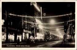 Postcard Saarbrücken, Adolf Hitler Straße bei Nacht, Saarabstimmung 1935