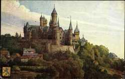Künstler Ak Braunfels, Gesamtansicht des Schlosses, Wappen