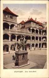 Postcard Stuttgart, Blick in den alten Schlosshof, Reiter, Denkmal