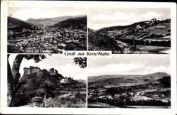 Postcard Kirn Nahe, Stadtpanorama, Nahetal, Hahnenbachtal, Kyrburg
