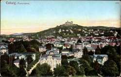 Postcard Coburg in Oberfranken, Stadtpanorama, Häuser, Wald, Schloss, Hügel