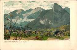 Künstler Litho Diemer, Zeno, Oberammergau in Oberbayern, Nordansicht