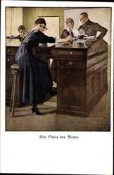 Künstler Ak Wennerberg, Bruno, Der Stolz der Firma, Junge Frau am Schreibtisch