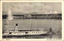 Postcard Genève Genf Stadt, La Rade et le Jet d'Eau, Salondampfer Savoie