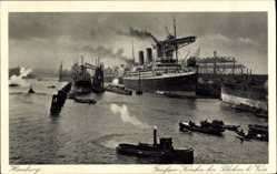 Postcard Hamburger Hafen, Großer Kran bei Blohm und Voss