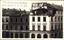 Foto Ak Düsseldorf am Rhein, Unwetterschäden 1924, Karl Nordmeyer Herrenmoden
