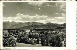 Postcard Lenggries im Kreis Bad Tölz Wolfratshausen, Ortschaft, Kirche, Landschaft
