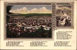 Postcard Hameln in Niedersachsen, Stadtpanorama, Flusspartie, Dame mit Laute