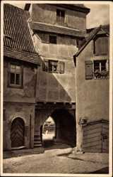 Postcard Marktsteft am Main Bayern, Hausdurchgang, Wohnhäuser