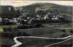 Postcard Streitberg Wiesenttal im Kreis Forchheim Oberfranken, Panorama, Kirche, Fluss