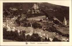 Postcard Vianden Luxemburg, Ville Haute et le Chateau, Kirche