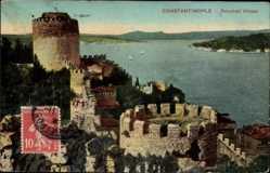 Postcard Konstantinopel Istanbul Türkei, Roumeli Hissar, Festungsmauern, Türme