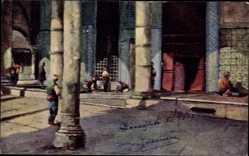 Künstler Ak Konstantinopel Istanbul Türkei, Entrance to a mosque