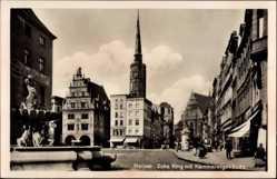 Ak Nysa Neisse Schlesien, Ecke Ring mit Kämmereigebäude, Turm, Brunnen