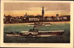 Postcard Düsseldorf in Nordrhein Westfalen, Rheindampfer Prinz Heinrich und Kirche