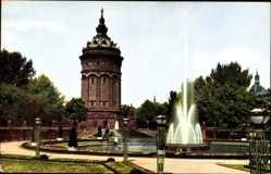 Postcard Mannheim in Baden Württemberg, Friedrichsplatz, Wasserturm