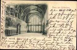 Postcard Hildesheim in Niedersachsen, Rathaussaal, Kronleuchter, Bilder, Fenster