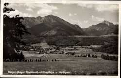Postcard Bergen im Chiemgau Oberbayern, Ortschaft mit Hochfelln und Hochgern