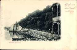 Postcard Lohme auf der Insel Rügen, Strandpartie mit Segelbooten, Bäume