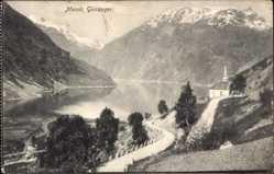 Postcard Merok Geiranger Norwegen, Kapelle am Fjord, Straße