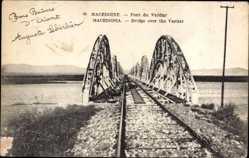 Postcard Mazedonien, Pont du Vardar, Eisenbahnbrücke über den Fluss