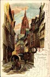 Künstler Litho Hartmann, Frankfurt am Main, Alter Markt, Planwagen