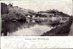 Postcard Würzburg am Main Unterfranken, Flusspartie, Brücke, Stadtblick
