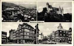 Postcard Herborn im Lahn Dill Kreis, Schloss, Marktplatz mit Rathaus, vom Dollenberg