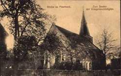 Postcard Meerbeck Kr. Schaumburg, Blick auf die Kirche, Rückansicht