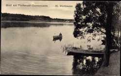Postcard Gransee im Kreis Oberhavel, Fischerwall Dannenwalde, kleiner Wentowsee