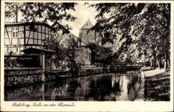 Postcard Perleberg, An der Stepenitz, Ansicht vom Wasser aus