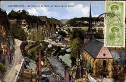 Postcard Luxemburg, Les Rochers de Bock et Faubourg du Grund