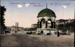 Postcard Konstantinopel Istanbul Türkei, Fontaine Guillaume II et l'Hippodrome