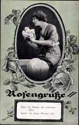 Passepartout Ak Rosengrüße, Weil die Rosen die schönste Zier, RKL 2956 4