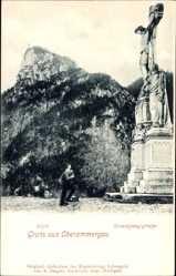 Postcard Oberammergau Bayern, Blick auf Kofel und Kreuzigungsgruppe