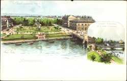 Litho Norrköping Schweden, Karl Johans Park, Oscar Fredriks Bro, Hamnen