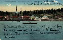 Postcard Konstantinopel Istanbul Türkei, Cimetière turc à Eyoub, Bosphorus, Ruderboot